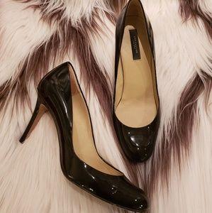 Ann Taylor black patent leather high heels